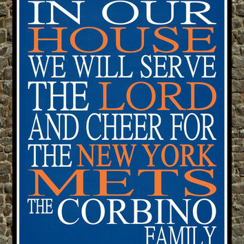 Customized Name New York Mets MLB Baseball personalized family print poster Christian gift sports wall art - multiple sizes