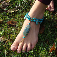Macrame Barefoot Sandal Anklet with Agate & Howlite beads Flower pendant Yoga belly dance Beach hippie boho gypsy festival wedding