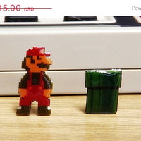 ON SALE: Nintendo earrings - Mario & Pipe - Video Game Jewelry 8-bit Pixel