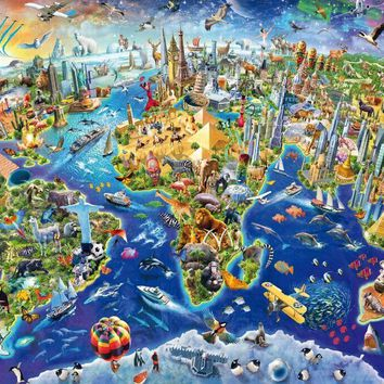 Colorful world map The wooden puzzle 500 pieces ersion  jigsaw puzzle white card adult children's educational toys