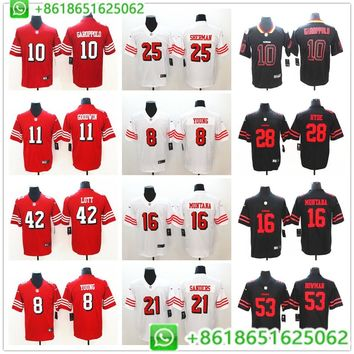 Men 49ers Jimmy Garoppolo Colin Kaepernick Marquise Goodwin Richard Sherman Ronnie Lott Vapor Untouchable Jersey Shirts