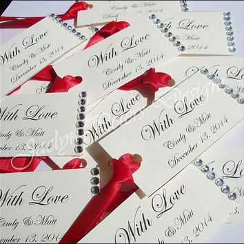 Personalized Favor Tag, Ivory With Rhinestones, Red Satin Ribon, Wedding Gift Tag, Bridal Shower, Sweet 16, Mini Wine Bottle, Set Of 25