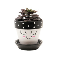 Succulent Planter, Cute Face Planter, Terracotta Pot, Air Plant Holder, Plant Pot, Flower Pot, Indoor Planter, Succulent Pot, Black Planter