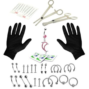 BodyJ4You Body Piercing Kit Belly Rings Tongue Tragus Eyebrow Nipple Lip Nose 36 Pieces