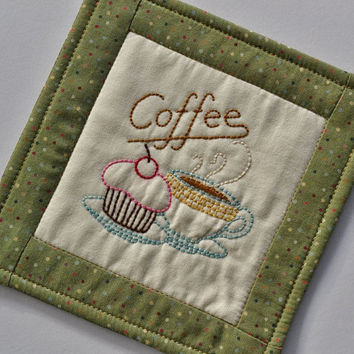Coaster - Mug Rug - Coffee Cup - Cupcake - Green Polka Dot - Hand Stitched - Home Decor