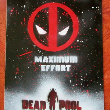 dead pool painting,dead pool art,maximum effort quote,marvel comics superhero,superhero wall art,gift for geeks,birthday dead pool,comics
