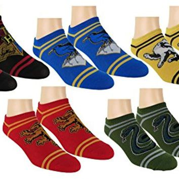 Harry Potter Womens Ankle-No Show Socks 5 Pair Pack Multi Color