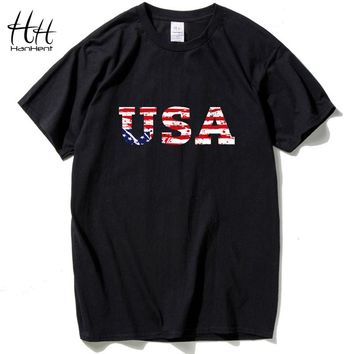 USA American Flag t shirt Short-sleeved Men's Clothing
