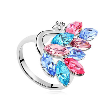 Shiny Stylish Jewelry Gift New Arrival Crystal Peacock Ring [4989602564]