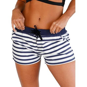 hotapei women Board Shorts Nautical Striped Pocket Design Quick-drying running shorts LC410279 ladies 2018 joggers summer Trunks