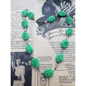 Pierced jade peking glass beaded necklace on gold filled chain with austrian crystals
