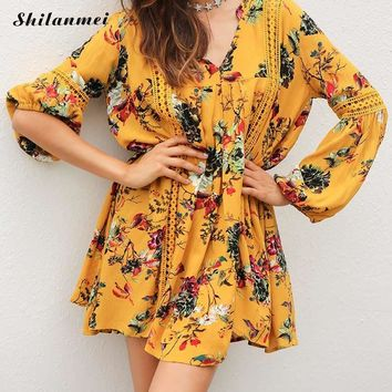 Lace Boho Dress Women Yellow Floral V Neck Bell Sleeve Beach Summer Dresses 2017 Long Sleeve Vintage Casual Dress
