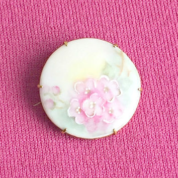 Antique Victorian Porcelain Brooch, Vintage Hand Painted Porcelain Brooch, Pastel Pink Roses, Antique Porcelain Pin.