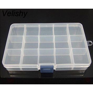 Velishy 1PCS Earring Jewelry Bin Case Container Sewing box Adjustable 12 Compartment Box