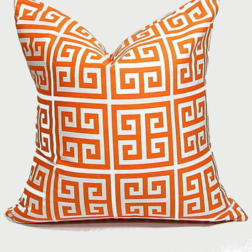 Orange Pillow Cover GREEK KEY 24 inch Euro Sham ONE Decorator Pillow Cover tangerine, white Geometric Modern 24""