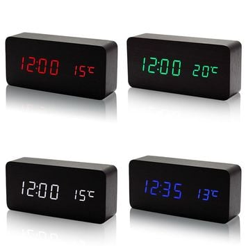 New Wooden LED Alarm Clock with Temperature Sounds Control Calendar LED Display Electronic Desktop Digital Table Clocks  FP