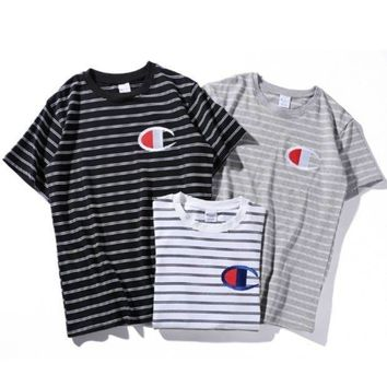 LMFV9O Champion Woman Fashion Edgy Embroidery Sport Stripe Shirt Top Tee
