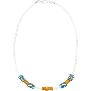 Hand Painted Recycled Glass Bead Necklace Light Blue