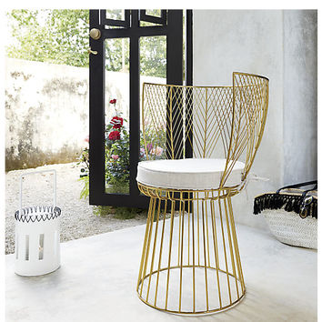 alexandria metal gold chair with natural cushion