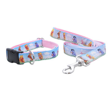 Spring Winnie the Pooh & Friends Ribbon Dog Collar and Lead Set - Choice of Fastening on Collar - Handmade