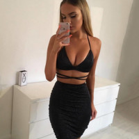 New fashion hot tie strap summer women's V-neck shining two piece dress