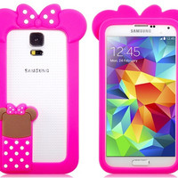 Lovely Cartoon Design Silicone Bumper Silicone Case for Samsung S5 i9600 (Pink)