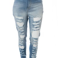 Plus Size High Waist Ripped Light Blue Jeans, Plus Size Clothing, Club Wear, Dresses, Tops, Sexy Trendy Plus Size Women Clothes