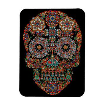 Flower Sugar Skull Photo Magnet