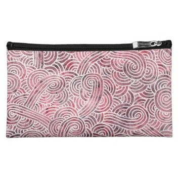 Makeup bag - Red and white scrolls
