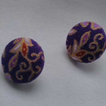 Paisley Purple and Gold Cotton Fabric Button Earrings
