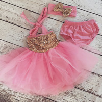 "The ""Gia"" Bubblegum Pink Gold Birthday Infant Dress + Headband Set"