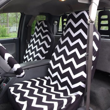 1 Set Of  Black and White Chevron  Print  Car Seat Covers and Steering Wheel Cover Custom Made.