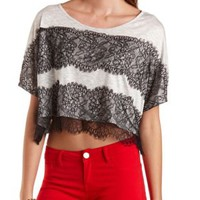 Gray Combo Wide-Cut Lace-Striped Crop Top by Charlotte Russe