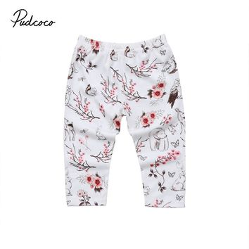 Pudcoco 2017 New Autumn Winter baby girls Printing cartoon annimals Leggings Quality Cotton Casual clothing set for 3-18 months
