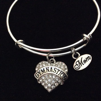 Gymnastics Mom on a Silver Expandable Bangle Bracelet Sports Team Coach Gift Adjustable Wire Charm Bangle