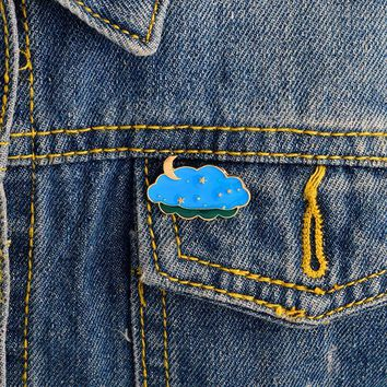 Trendy Night sky moon star pins Brooches Pin Hard enamel pins Badges Denim jacket blouse backpack accessories Fashion jewelry AT_94_13