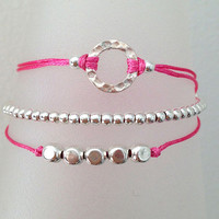 Triple Silver Friendship Bracelet with Adjustable Cord in Hot Pink