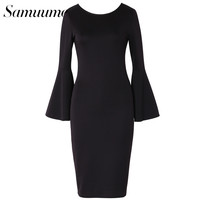 Samuume Business Black Flare Sleeve Pencil Dress Women 2017 Elegant Lady Sheath Fitted Women Bodycon Dress Vestidos A1610027