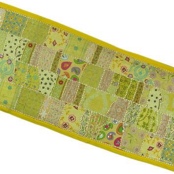 Hand Sewn Recycled Fabric Patchwork Wall Tapestry