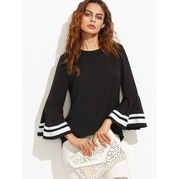 Striped Trim Bell Sleeve Keyhole Back Blouse Black
