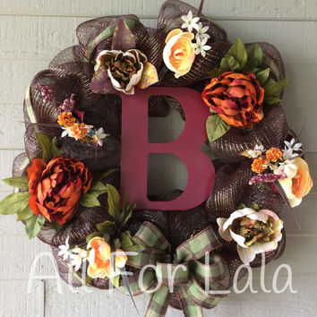 Fall Autumn Personalized Monogram Initial Mesh Floral Wreath