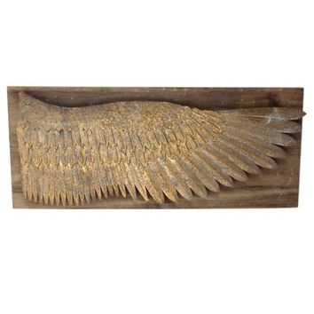 Gilt Metal Angel Wing On Rustic Wood Plaque