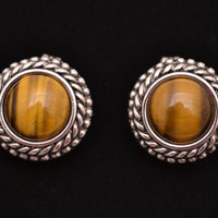 Premier Design Clip Earrings with Tiger Eye / Lynx Antiqued Sterling Silver Tone Plated Jewelry Brown Yellow Golden Cat