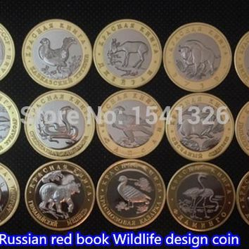 150pcs/lot.15 red book Wildlife design Rare Russia silver gold plated Collectible souvenir Coins, Free shpping