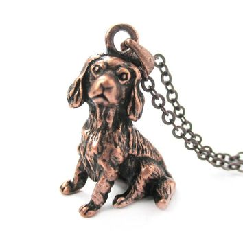 Realistic King Charles Spaniel Shaped Animal Pendant Necklace in Copper | Jewelry for Dog Lovers