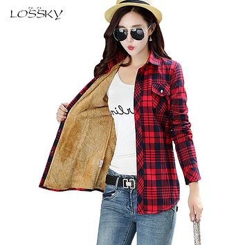 2017 Women's Cotton Winter Fashion Casual Warm Wool Shirts Blouse For Women's Long Sleeve M-XXL Size Femme Velvet Plaid Shirt
