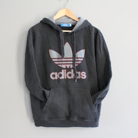 Adidas Hoodie Trefoil Big Logo Charcoal Grey Fleece Lining Cotton Sweatshirt Baggy Slouchy Pullover Vintage 90s Sweater Size M #T171A