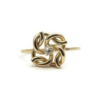 Diamond Ring - Art Deco Ring, 10k Gold, Love Knot Ring, Art Deco Jewelry, Stick Pin Co