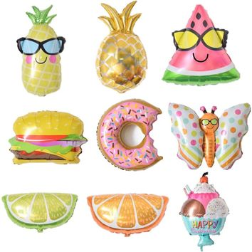 1pc Watermelon/Ice cream/Pineapple Beach Hawaii Theme Party Aluminum Foil Balloons kids birthday Party Balloon Decoration Suppli