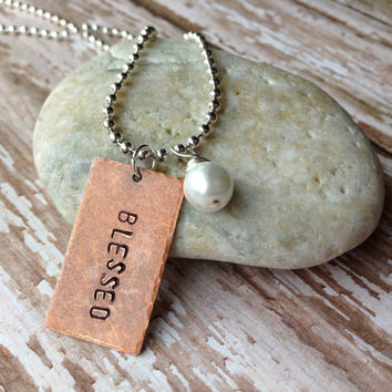 "Handstamped Personalized ""BLESSED"" Rectangle Antique Copper Pendant with a Sterling Silver Necklace and One White Pearl, Handmade"